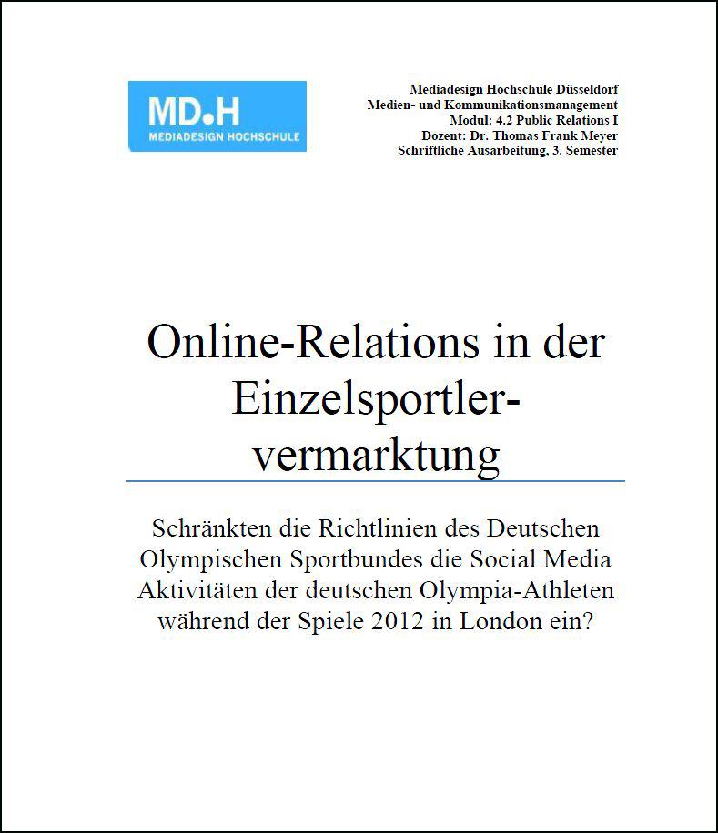 Hausarbeit: Online-PR in der Einzelsportlervermarktung